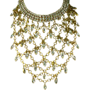Vintage Vegas Showgirl Crystal Bib Necklace.