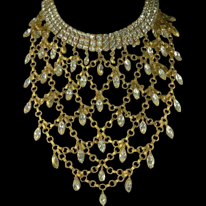 Vintage Vegas Showgirl Crystal Bib Necklace.