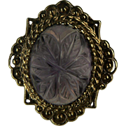 Victorian Carved Amethyst Floral Ring-14K-Size 6.