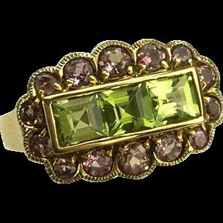Peridot & Lavender Tourmaline Ring-14k-Size7.