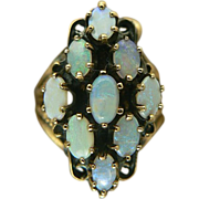 Mid 20th Century~Blue Opal Cocktail Ring~14K~Size 7.
