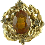 Orange Topaz & Diamond Ring~14k~Size 6 3/4.
