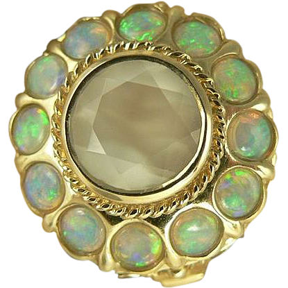 Striking Faceted Moonstone & Opal Ring~14k~Size 8.