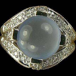 14k Diamond & Blue Chalcedony Ring-Size 6 1/4.