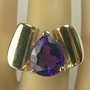 Retro-Heavy 14k Gold Amethyst Ring-C. 1940.