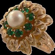 1950,  Freshwater Cultured Pearl & Tsavorite Garnet Ring-14k, Size 6.25.
