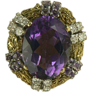 10 CWT Amethyst & Diamond Cocktail Ring-14k-Size 7 3/4.
