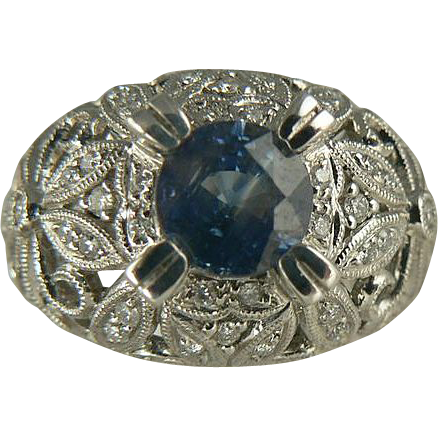 Ceylon Sapphire & Diamond Ring - 18K, Size 7.