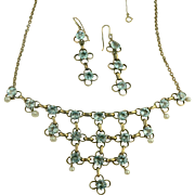 Antique Blue Topaz & Seed Pearl Necklace and Earrings