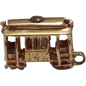 14K Gold San Francisco Trolly Travel Charm