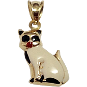 14K Italian Gold & Enamel Cat Pendant ~ 3D White & Black