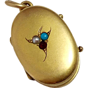 Victorian 14K Gold Locket ~ Imbedded Stones ~ Holds Two Photos