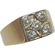 Unisex Vintage 14K Gold 5 Stone Diamond Ring ~ .60 CTW