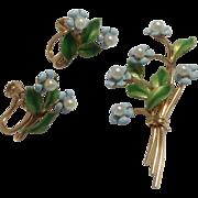 Krementz Forget Me Not Enamel & Cultured Pearl Flower Brooch & Earrings ~ 14K Gold Overlay ~ Original Boxes