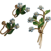 Krementz Forget Me Not Enamel & Cultured Pearl Flower Brooch & Earrings ~ 14K Gold Overlay ~ Original Boxes