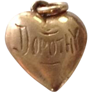 Antique 14K Gold Heart Charm ~ Engraved Dorothy