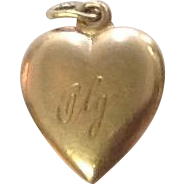 Antique 10K Gold Puffy Heart Charm ~ Engraved Olga