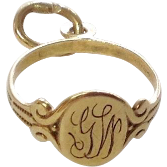 Antique 10K Gold Hand Engraved Baby Ring Charm