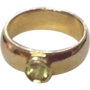 Vintage 10K Gold Baby Ring w/ Peridot Gemstone