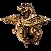 Antique 14K Gold Griffin Watch Pin