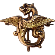 Antique 14K Gold Griffin Watch Pin