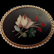 Antique 14K Floral Petra Dura Brooch