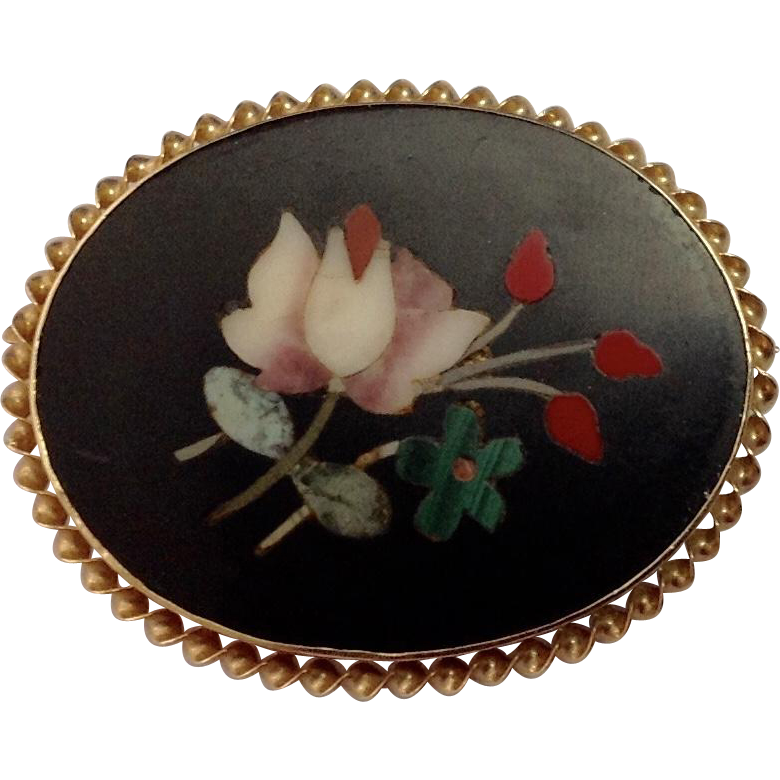 Antique 14K Floral Petra Dura Brooch
