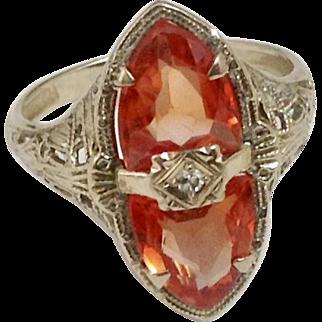 Malaya Garnet 14K White Gold Filigree Ring c1920
