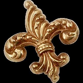 Vintage Embossed Fleur de Lis Pin