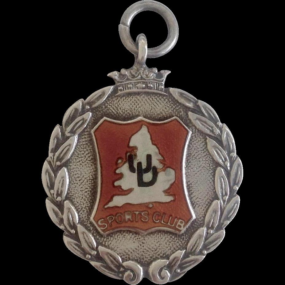 Vintage English Sports Club Sterling Fob c1931