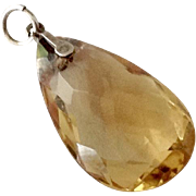 Faceted Pear Shape 9 Carat Citrine & 14K Pendant