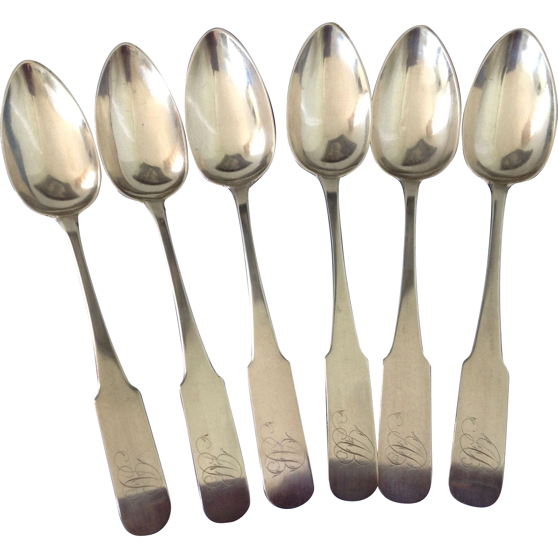 c1795 Set of 6 American Coin Silver Serving Spoons / Oversize Table Spoons ~ John Schanck NY NY