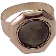 Georgian Period 9CT Rose Gold Ring ~ Mourning Glass Compartment Never Used