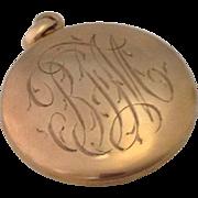 Antique Monogrammed 14K Rose Gold Locket ~ Patent Date 1902