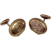 c1910 Unusual Antique Locket Cuff Links ~ Monogrammed