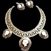 Magnificent Italian Victorian Hard Stone Cameo Demi Parure Necklace Earrings ~ 12K Gold Black Enamel Greek Key