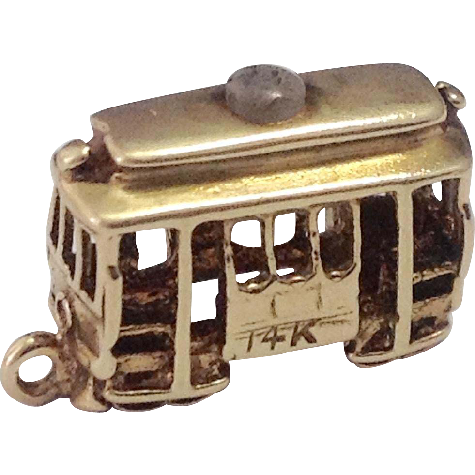 14K Gold San Francisco Trolley Travel Charm