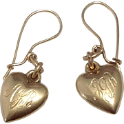 Pair 14K Vintage Puffy Heart Charm Earrings