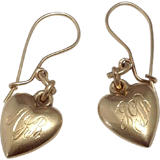 Pair 14K Vintage Puffy Heart Charm Earrings