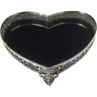 19th Century Ornate Classical Grecian Urns ~ Heart Shaped Vanity Tray ~ Netherlands .875 Silver