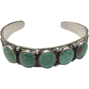 Fred Harvey c1930 Southwestern Navajo Sterling & Turquoise Cuff Bracelet
