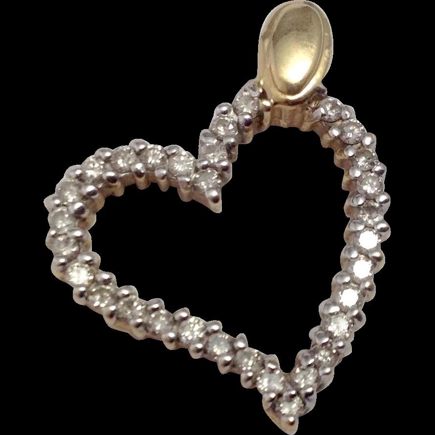 Vintage 14K & Pave Diamond Open Heart Pendant ~ .62 CTW