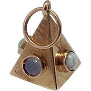 18K Gold Masonic Pyramid Fob ~ Inlaid Gemstones