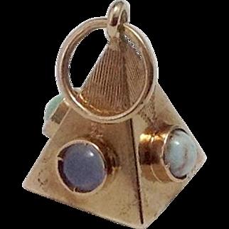 18K Gold Masonic Pyramid Fob ~ Inlaid Gemstones