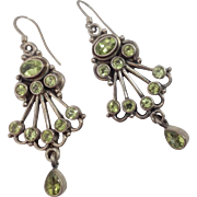 "2"" Vintage Sterling Chandelier Genuine Peridot Earrings"
