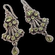 """2"""" Vintage Sterling Chandelier Genuine Peridot Earrings"""