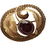 Exceptional Early Victorian 18K Gold & Cabochon Garnet Brooch
