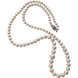 "Vintage 18"" Cultured Pearl Necklace ~ Graduated Pearls 3-7mm ~ 10K WG Filigree Clasp"