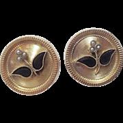 Victorian 14K Gold Post Earrings ~ Onyx & Pearl Flower Motif