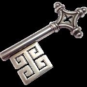 "5"" Antique Silver Decorative Key ~ Greek Key Motif ~ circa 1890"